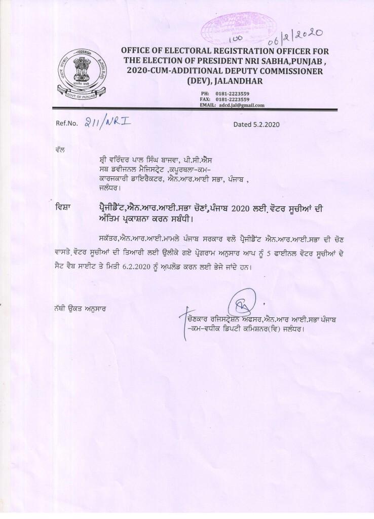 Notice of Final Publication of Electoral Rolls of Jalandhar 001