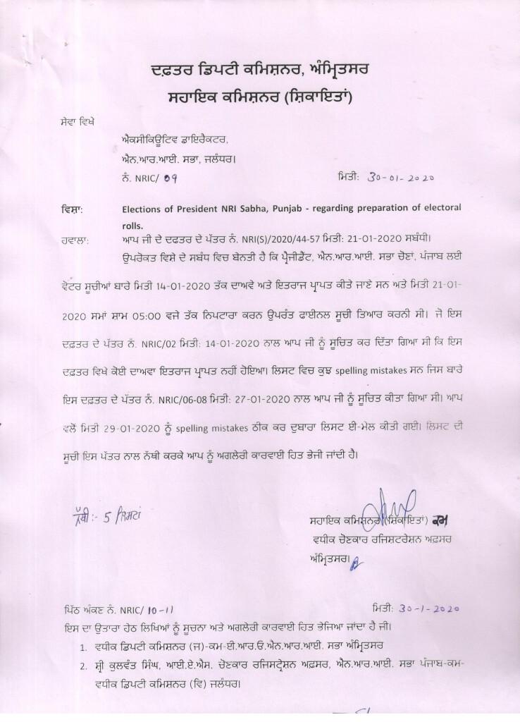 Notice of Final Publication of Electoral Rolls of NRI Sabha Amritsar