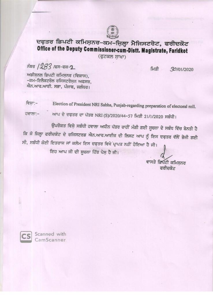 Notice of Final Publication of Electoral Rolls of NRI Sabha Faridkot