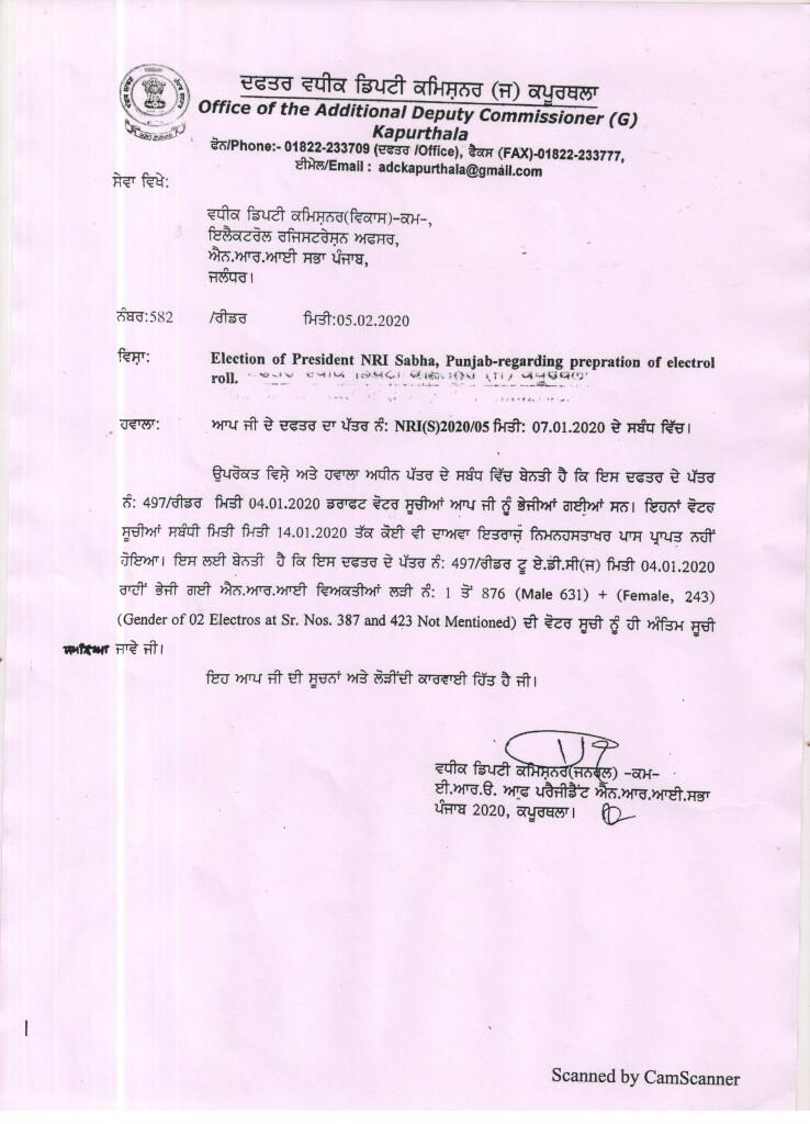 Notice of Final Publication of Electoral Rolls of NRI Sabha Kapurthala