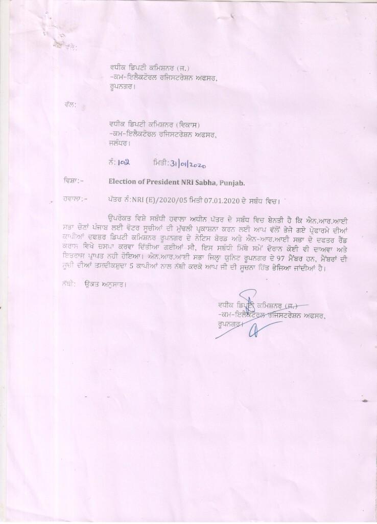 Notice of Final Publication of Electoral Rolls of NRI Sabha RoopNagar