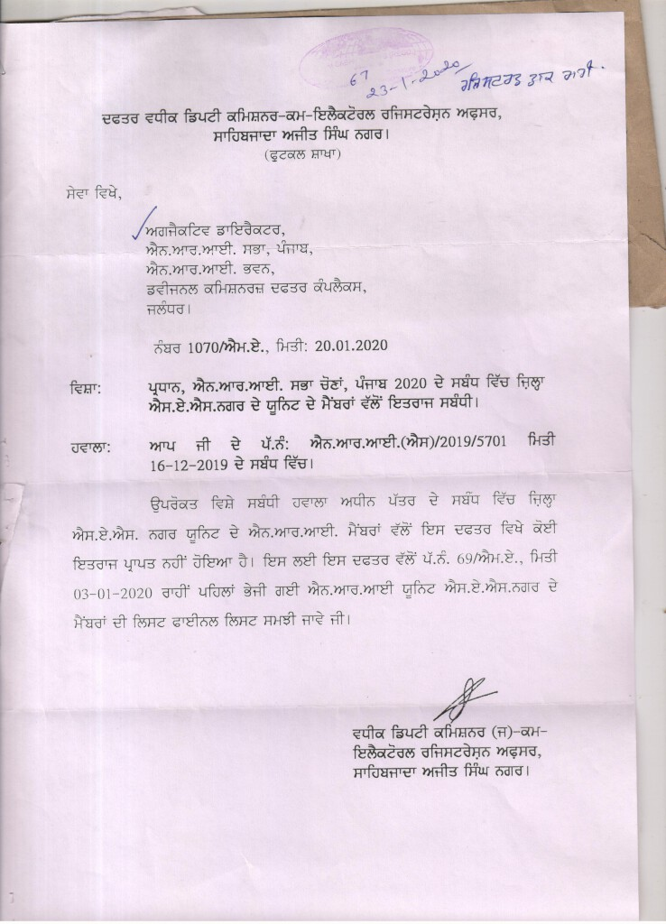Notice of Final Publication of Electoral Rolls of NRI Sabha SAS Nagar